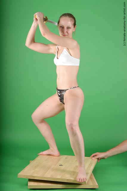 Underwear Fighting with sword Woman White Standing poses - ALL Slim medium brown Standing poses - simple