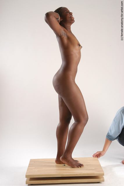 Nude Woman Black Standing poses - ALL Slim dreadlocks black Standing poses - simple