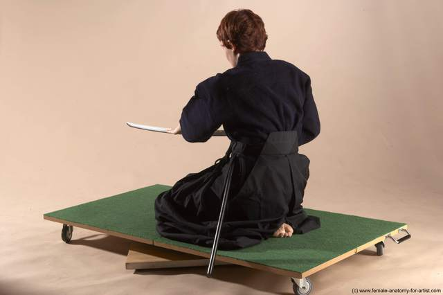 Sportswear Fighting with sword Woman White Sitting poses - ALL Slim short red Sitting poses - on knees