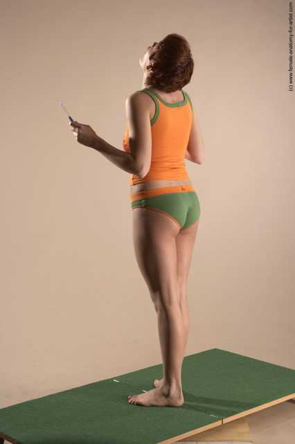 Casual Daily activities Woman White Standing poses - ALL Slim short red Standing poses - simple