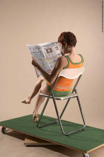 Casual Daily activities Woman White Sitting poses - ALL Slim short red Sitting poses - simple