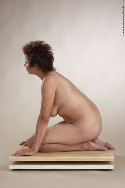 Nude Woman White Sitting poses - ALL Slim short colored Sitting poses - on knees