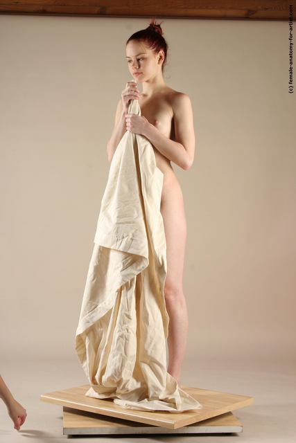 Drape Woman White Standing poses - ALL Underweight long red Standing poses - simple