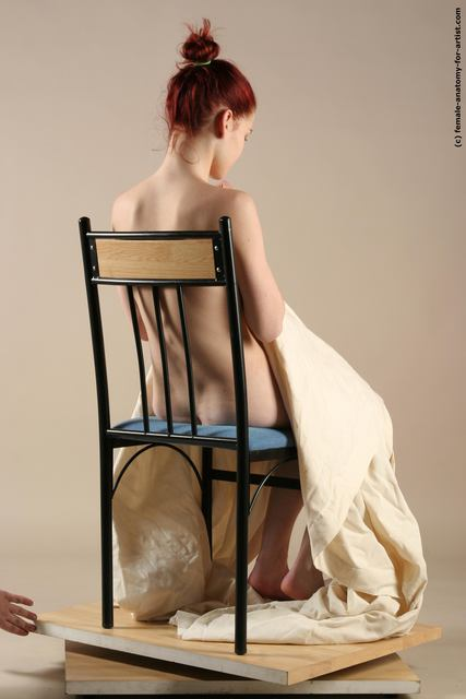 Drape Woman White Sitting poses - ALL Underweight long red Sitting poses - simple
