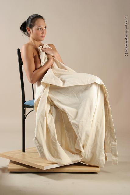 Drape Woman White Sitting poses - ALL Slim long black Sitting poses - simple