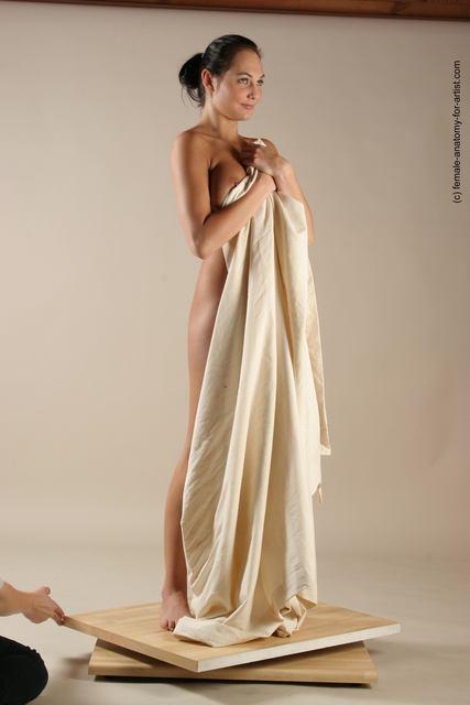 Drape Woman White Standing poses - ALL Slim long black Standing poses - simple