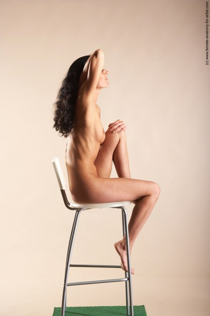 Nude Woman White Sitting poses - ALL Slim long black Sitting poses - simple