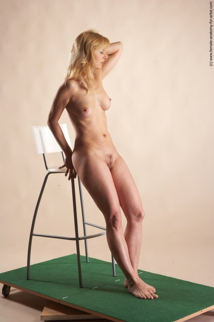 Nude Woman White Standing poses - ALL Slim long blond