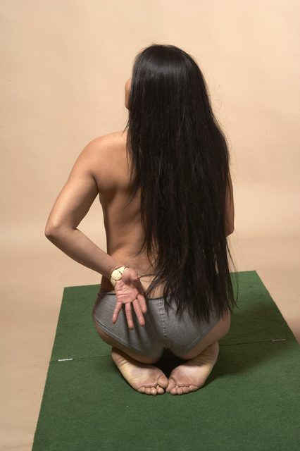 Nude Woman Multiracial Sitting poses - ALL Slim long black Sitting poses - on knees