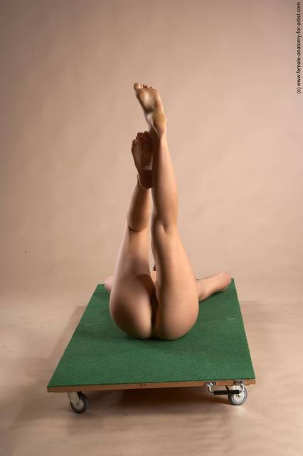 Nude Woman White Laying poses - ALL Slim Laying poses - on back short red