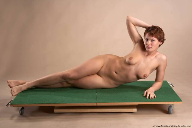 Nude Woman White Laying poses - ALL Slim Laying poses - on side short red