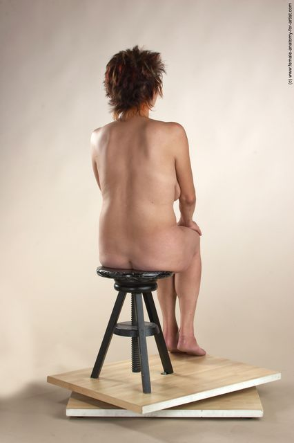 Nude Woman White Sitting poses - ALL Slim short colored Sitting poses - simple