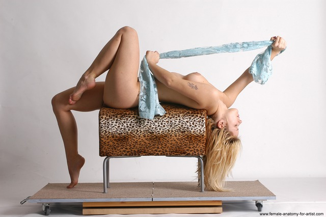 Nude Woman White Laying poses - ALL Slim Laying poses - on back long blond