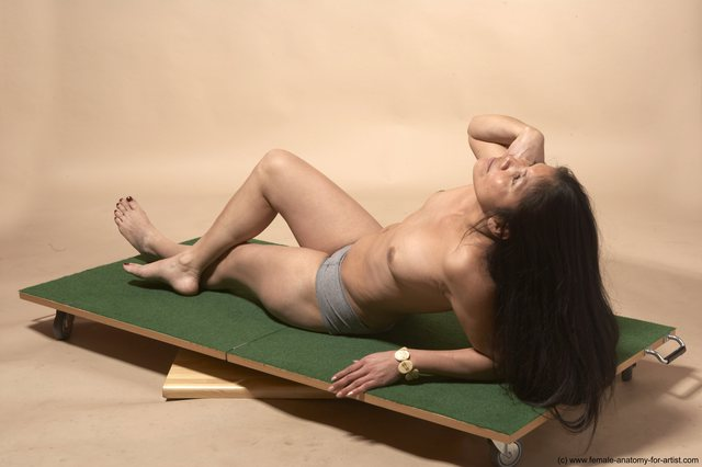 Underwear Woman Multiracial Laying poses - ALL Slim Laying poses - on back long black