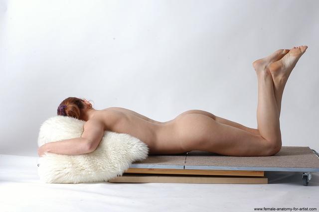 Nude Woman White Kneeling poses - ALL Slim Kneeling poses - on both knees medium red