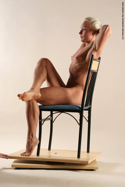 Nude Woman White Sitting poses - ALL Muscular medium blond Sitting poses - simple