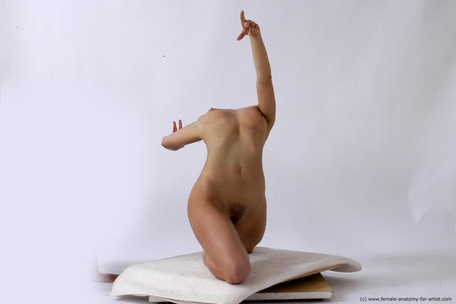 Nude Gymnastic poses Woman White Slim long brown Dancing
