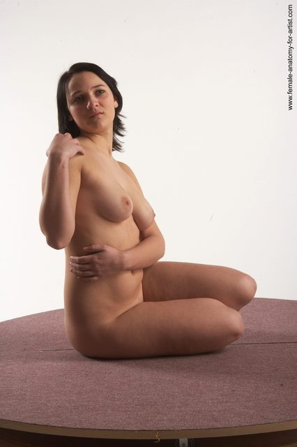 Nude Woman White Sitting poses - ALL Slim medium brown Sitting poses - simple