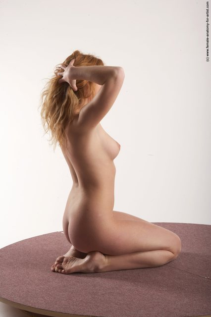 Nude Woman White Sitting poses - ALL Slim medium colored Sitting poses - on knees