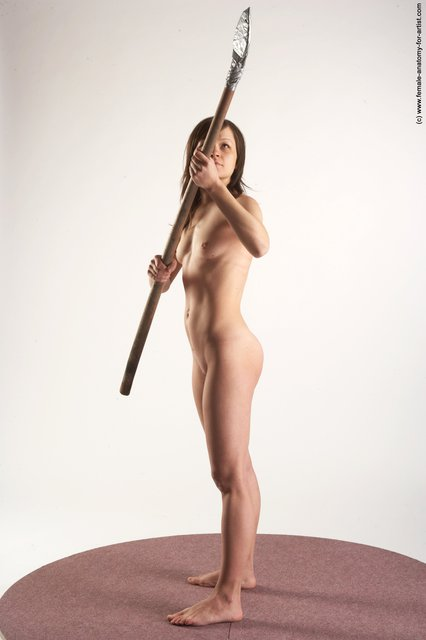 Nude Fighting with knife Woman White Standing poses - ALL Slim long brown Standing poses - simple