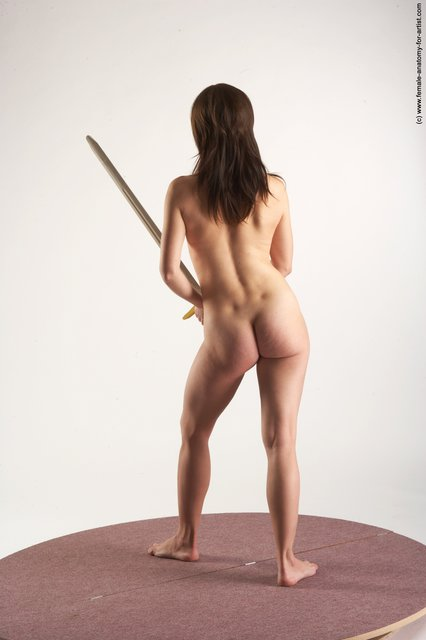 Nude Fighting with sword Woman White Standing poses - ALL Slim long brown Standing poses - simple