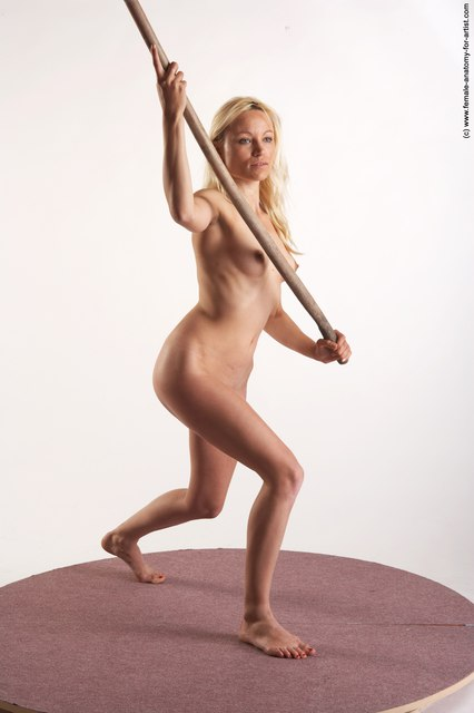 Nude Woman White Standing poses - ALL Slim Fighting with rifle long blond Standing poses - simple