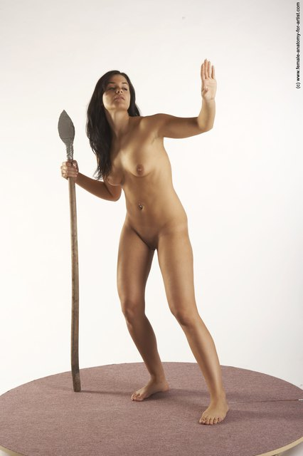 Nude Fighting with spear Woman White Standing poses - ALL Slim long black Standing poses - simple