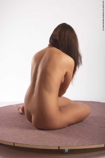 Nude Woman White Laying poses - ALL Slim Laying poses - on back long brown