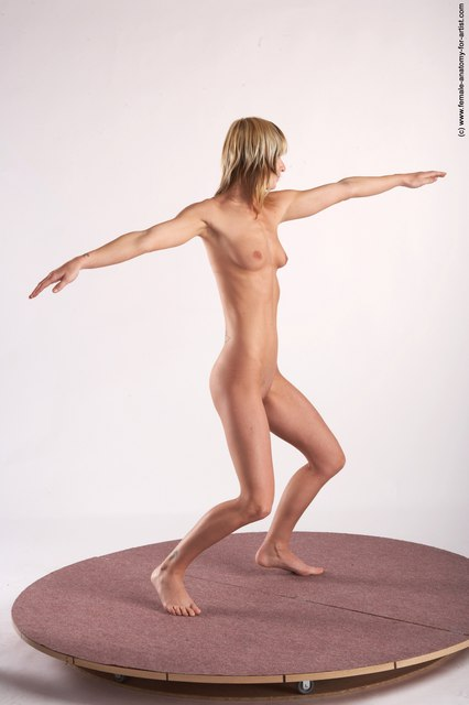 Nude Woman White Standing poses - ALL Slim long colored Standing poses - simple