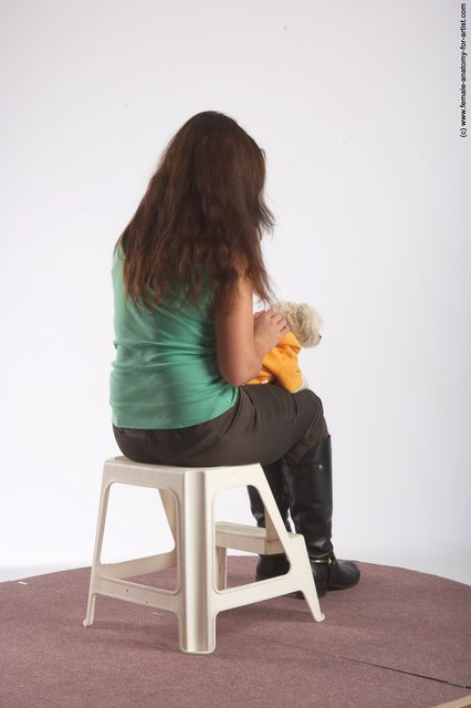 Casual Woman White Sitting poses - ALL Slim long brown Sitting poses - simple