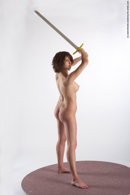 Nude Fighting with sword Woman White Standing poses - ALL Slim medium brown Standing poses - simple