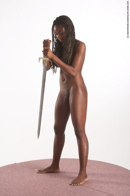 Nude Fighting with sword Woman Black Standing poses - ALL Slim dreadlocks black Standing poses - simple