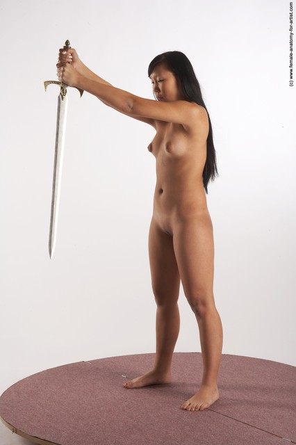 Nude Fighting with sword Woman Multiracial Standing poses - ALL Slim long black Standing poses - simple