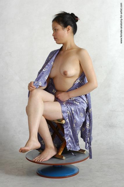 Drape Woman Asian Sitting poses - ALL Slim long black Sitting poses - simple