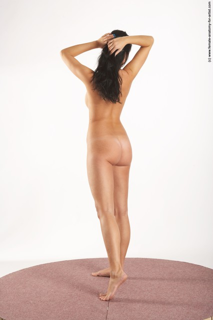 Nude Woman White Standing poses - ALL Slim long black Standing poses - simple