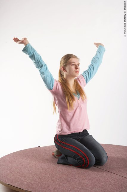 Casual Woman White Sitting poses - ALL Slim long blond
