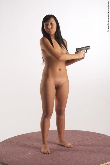 Nude Fighting with gun Woman Multiracial Standing poses - ALL Slim long black Standing poses - simple