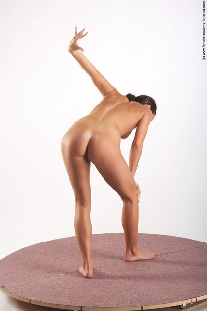 Nude Woman White Standing poses - ALL Slim long brown
