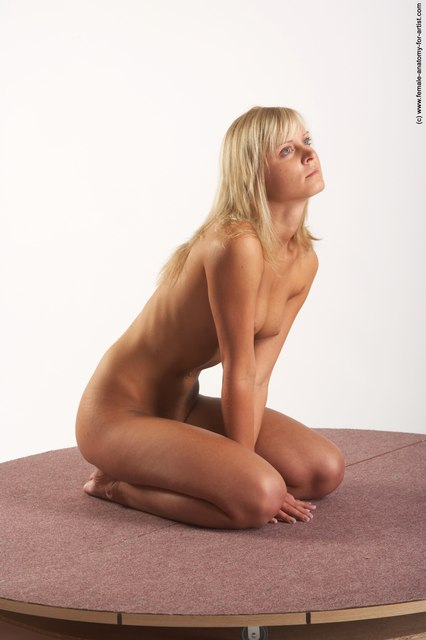 Nude Woman White Sitting poses - ALL Slim long blond Sitting poses - on knees