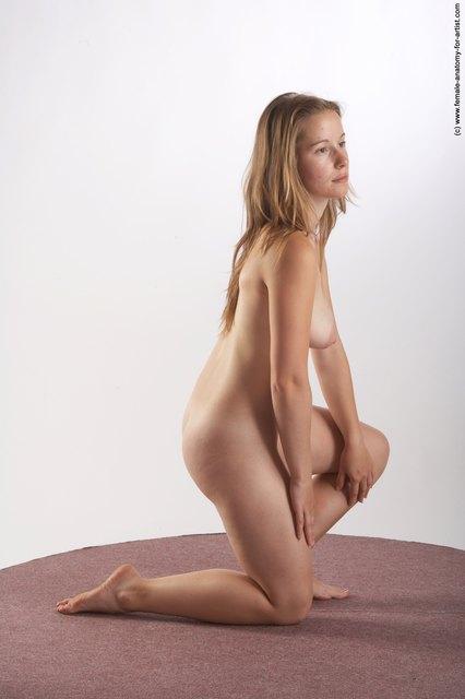 Nude Woman White Kneeling poses - ALL Slim Kneeling poses - on one knee long blond