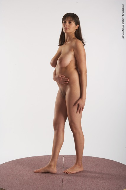 Nude Woman White Standing poses - ALL Average long brown Standing poses - simple