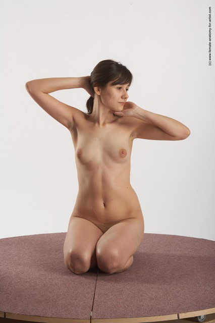Nude Woman White Laying poses - ALL Slim Laying poses - on stomach long brown