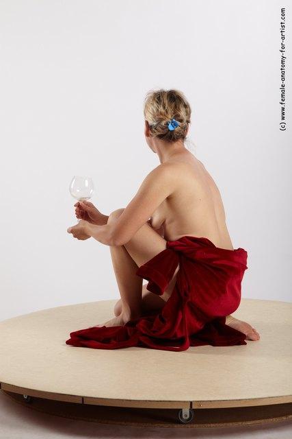 Drape Woman White Kneeling poses - ALL Average Kneeling poses - on one knee medium blond