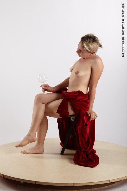 Drape Woman White Sitting poses - ALL Average medium blond