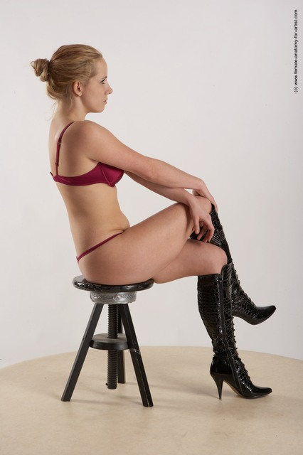 Underwear Woman White Sitting poses - ALL Slim long blond Sitting poses - simple