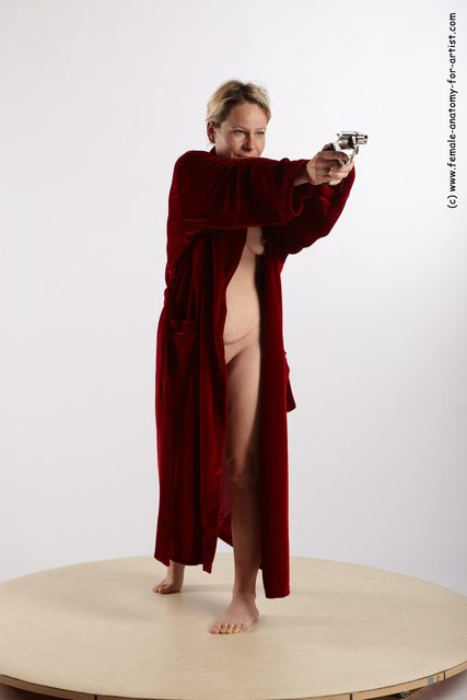 Drape Fighting with gun Woman White Standing poses - ALL Average medium blond Standing poses - simple