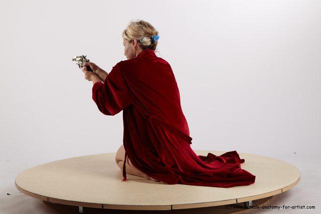Drape Fighting with gun Woman White Kneeling poses - ALL Average Kneeling poses - on one knee medium blond