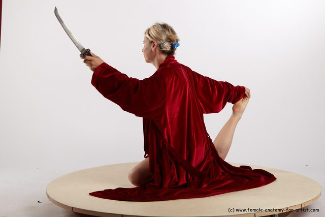 Drape Fighting with sword Woman White Detailed photos Average medium blond