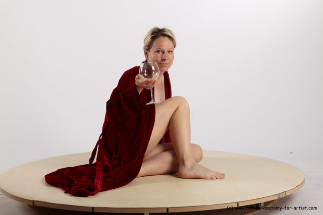 Drape Woman White Sitting poses - ALL Average medium blond Sitting poses - simple