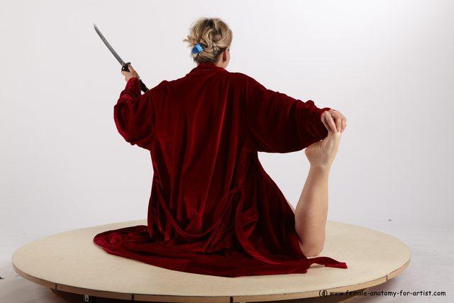 Drape Fighting with sword Woman White Detailed photos Average medium blond